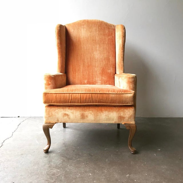 Hollywood Regency Vintage Velvet Wingback Chairs - a Pair For Sale - Image 3 of 6