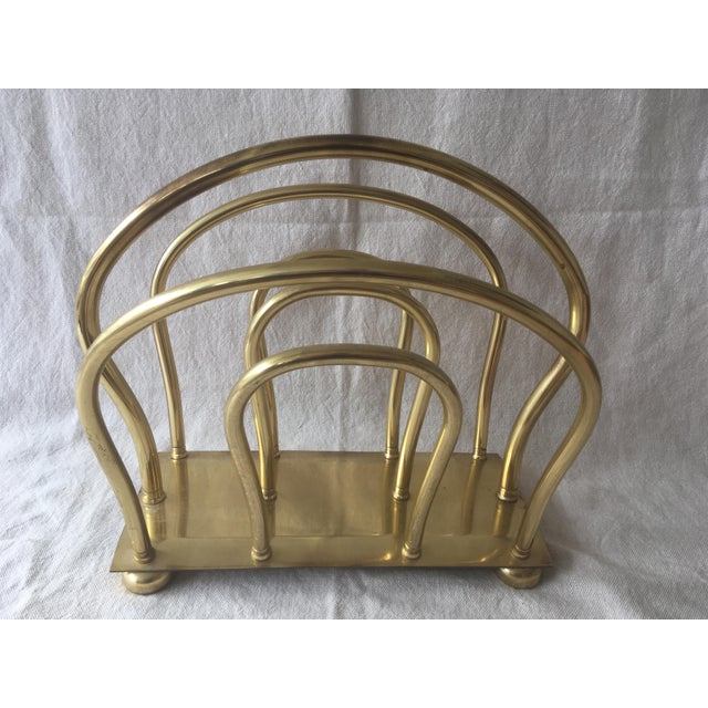 1980s 1980s Mid Century Solid Brass Magazine Rack For Sale - Image 5 of 9