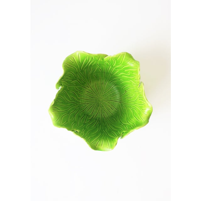 French Green Lettuce or Cabbage Leaf Cachepot by Jean Roger, Paris, France For Sale - Image 11 of 13