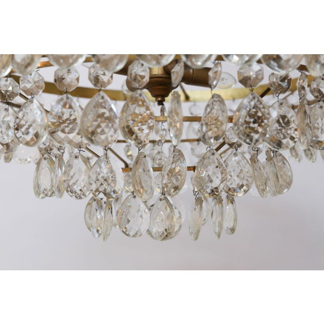 Gold Gilt Brass and Crystal Chandelier by Palwa For Sale - Image 8 of 12