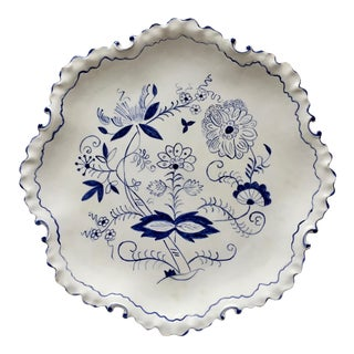 "Vintage ""Blue Onion"" Hand-Painted 11""Scallop Edge Dish For Sale"
