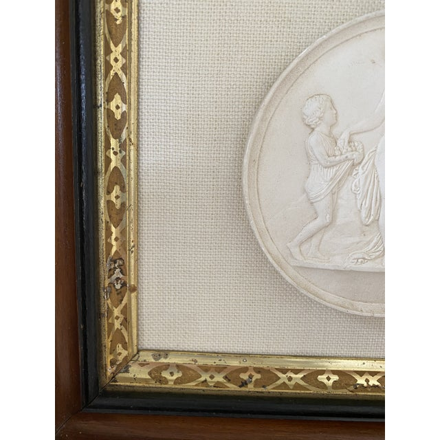 Antique Plaster Intaglio Plaque Framed in Antique Walnut and Gilt Frames - a Pair For Sale - Image 11 of 13