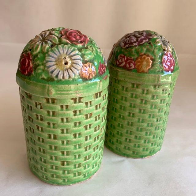 Large Vintage Floral Ceramic Salt & Pepper Shakers, a Pair For Sale - Image 10 of 10