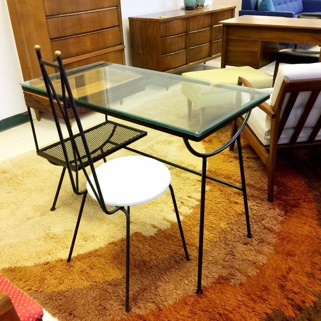 """George Nelson for Arbuck Desk Comes with Arthur Umanoff Chair Custom made rosewood drawer New Glass Top Measures: 40.5""""..."""