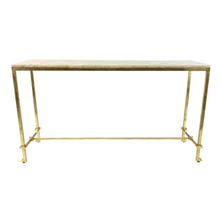 Currey & Co. Contemporary Delano Honey Onyx Console Table For Sale