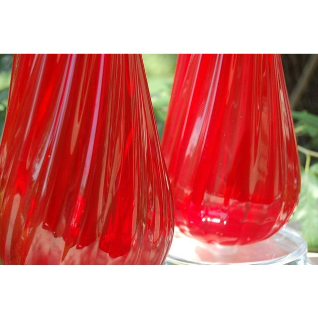 Silver Vintage Murano Glass Table Lamps Red- A Pair For Sale - Image 8 of 8