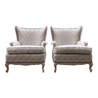 Vintage Bergere Cottage Wing Back Chairs- a Pair Driftwood White Wash Beach House For Sale