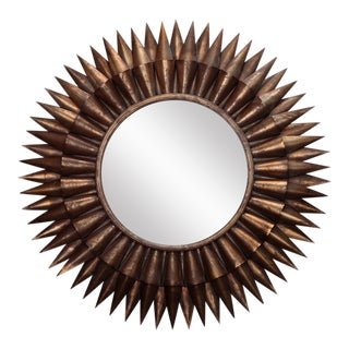 1970s Large Spanish Gilt Sunburst Mirror For Sale
