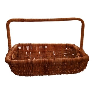 Huge, 26in X 18in Vintage Wicker Display Basket With Handle For Sale