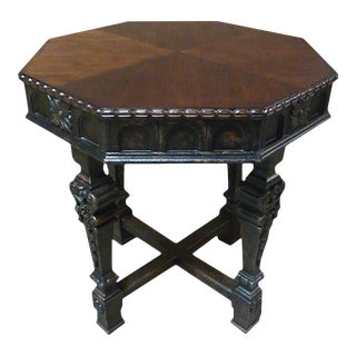 Lamp Table Americana Octagon Intricate Carved For Sale