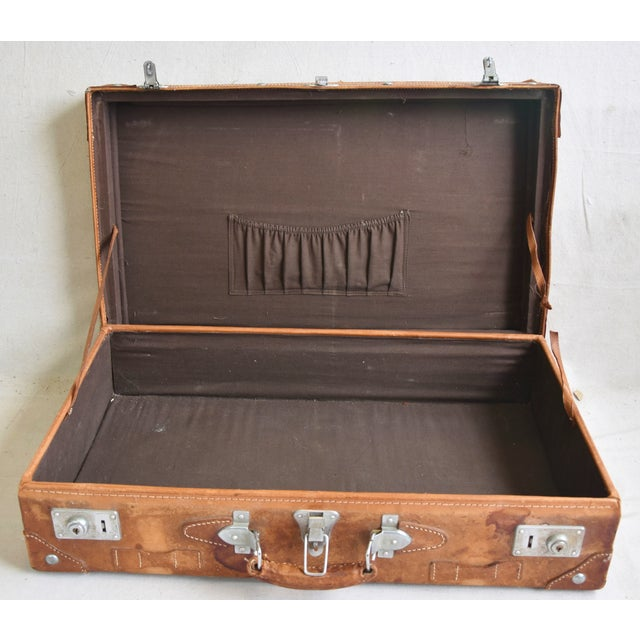 Shabby Chic 1940s Tanned Leather Suitcase Luggage With Travel Stickers For Sale - Image 3 of 9
