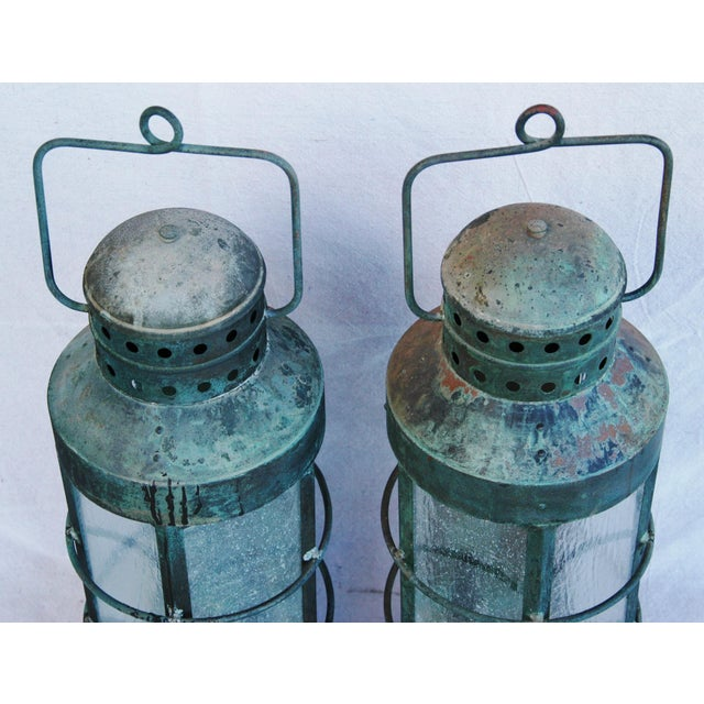 Nautical Copper Lantern Wall Sconces- A Pair - Image 10 of 12
