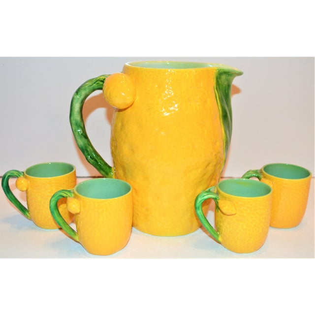 Boho Chic 1970s (Final Markdown). Majolica Limoncello Pitcher and Cups- 5 Pieces For Sale - Image 3 of 7