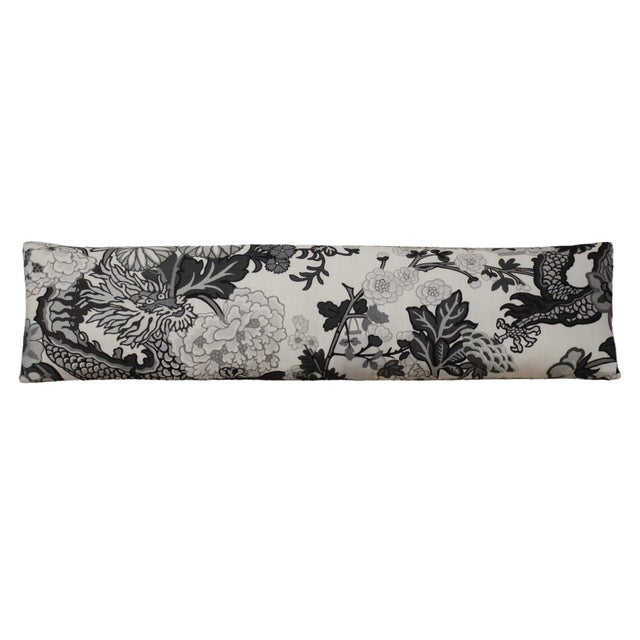 """Custom made extended lumbar pillow in Scalamandré Chiang Mai Dragon Fabric in """"Smoke"""" color way. Double sided and filled..."""