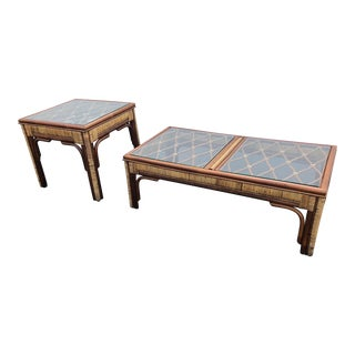 Vintage Indonesian Bamboo and Rattan Coffee Table and End Table Set - 2 Pieces For Sale