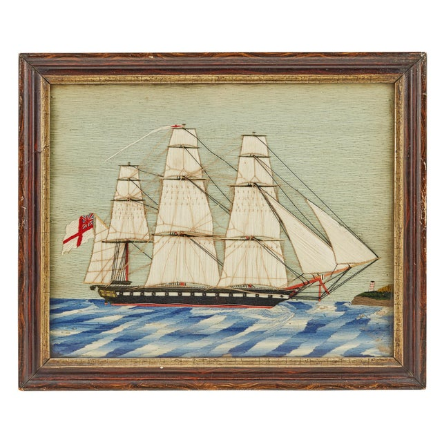 Pair of British Sailor's Woolworks Depicting a Royal Navy Ship Leaving and Arriving at the Same Port, Circa 1865-75 The...