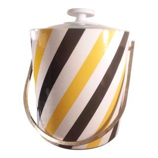 Mid-Century Modern Yellow & Black Striped Ice Bucket