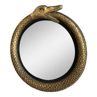 Irish Gilt Ouroboros Serpent Form Mirror With Original Plate Circa 1805 For Sale