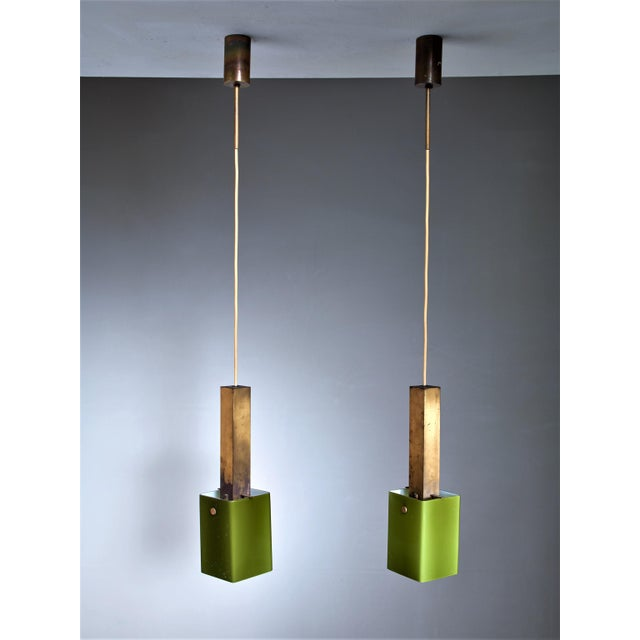 Italian Pair of Brass and Green Glass Pendants, 1950s For Sale - Image 3 of 4
