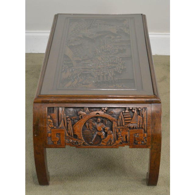 Vintage Oriental Asian Hand Carved Hardwood Coffee Table For Sale - Image 4 of 13