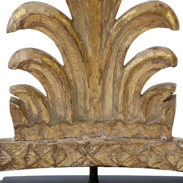 Gilded custom table lamp created from late 18th century hand-carved giltwood fragment mounted onto stand and base. Newly-...