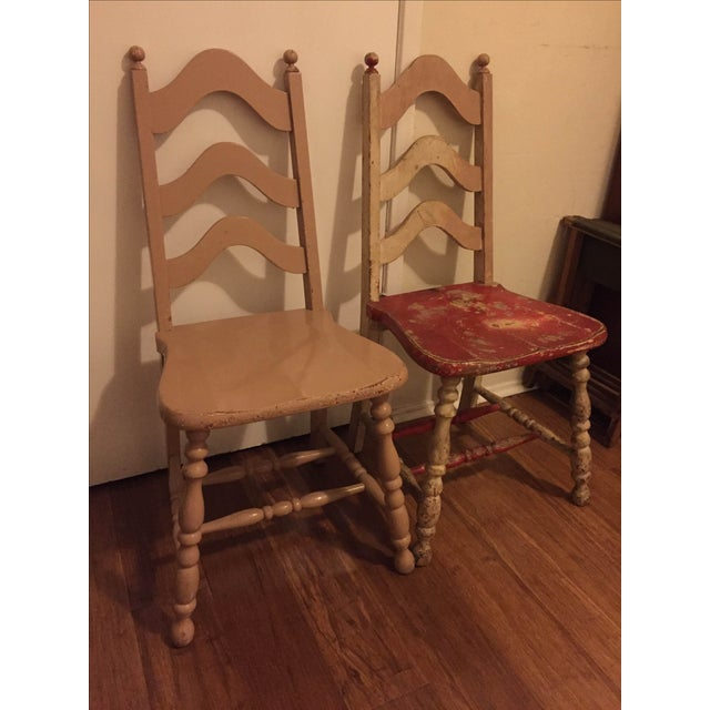 Vintage Shabby Chic Chairs - A Pair - Image 6 of 6