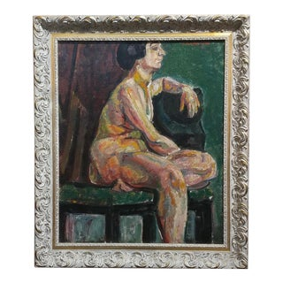 Pinchus Kremegne -Femme Seated Nude - Russian/French Expressionist -Oil Painting