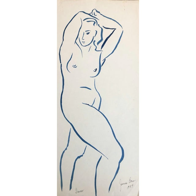 1950s 1957 Dancer Modern Drawing by James Bone For Sale - Image 5 of 5