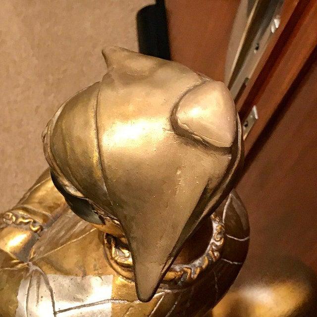 Plaster Hollywood Regency Standing Gold and Silvered Harlequin Sculpture For Sale - Image 7 of 12