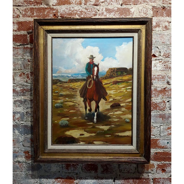 "White Arthur Roy Mitchell ""Cowboy on Horseback in Desert Landscape"" Oil Painting For Sale - Image 8 of 8"