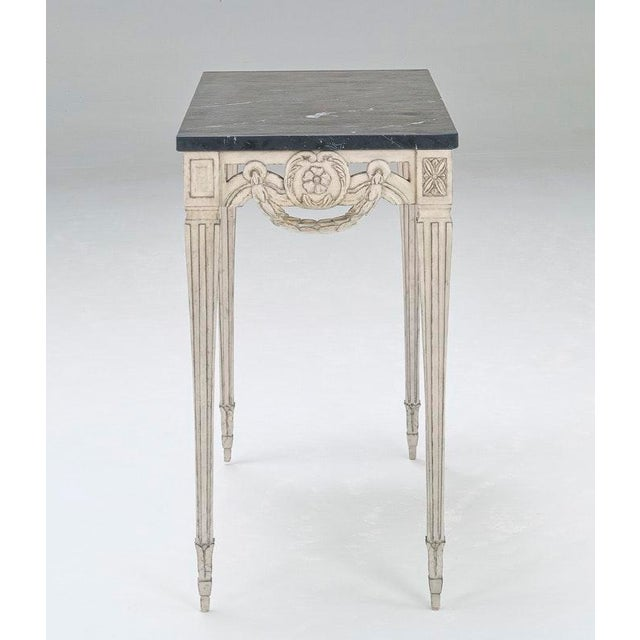 Malmo Console Table - SC011 Finish: Grey with Highlights Hand crafted. Pierced Rim is hand carved on 3 Sides. Top: Natural...