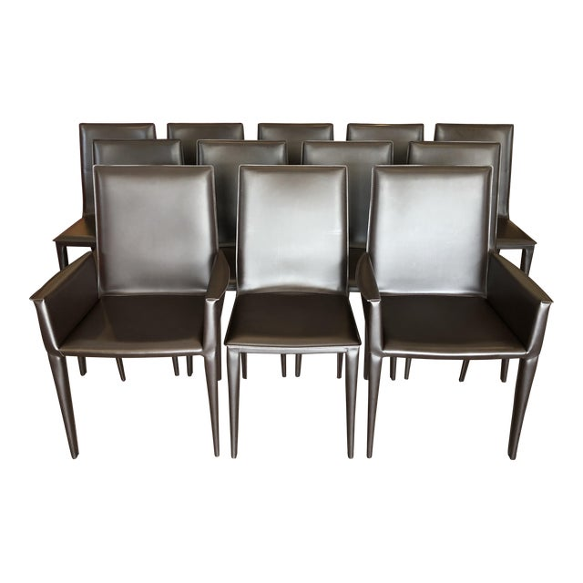 Design Within Reach Bottega Leather Dining Chairs - Set of 12 - Image 1 of 11