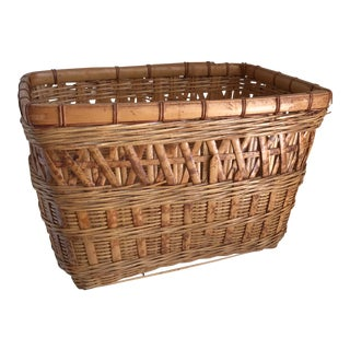 1970s Americana Bamboo Wood Basket For Sale