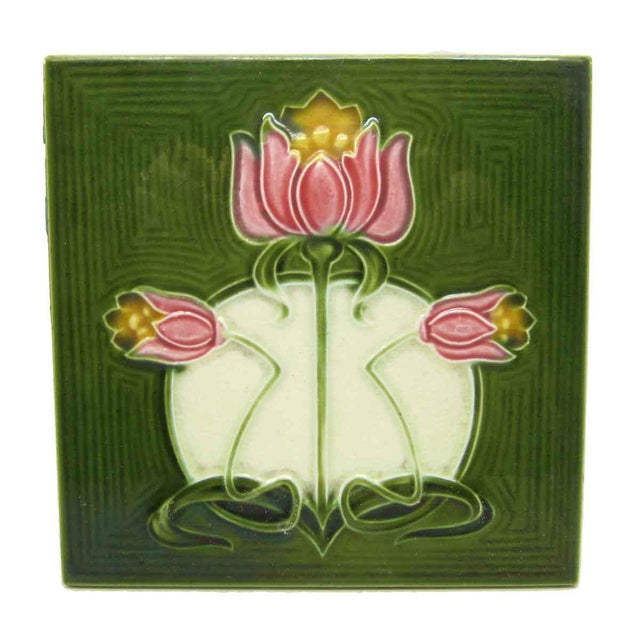 Green Tile With Pink Flowers - Image 3 of 4