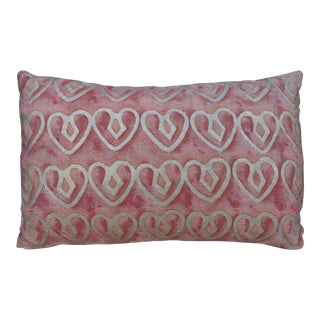 Blush Fortuny Pillow W/ Hearts