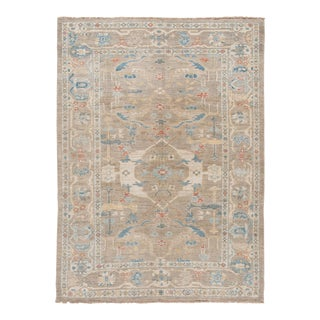 Modern Gray Sultanabad Handmade Floral Wool Rug For Sale