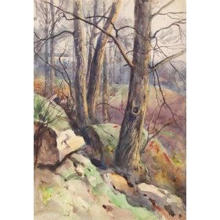 1914 Rocky Hillside Landscape Egbert Cadmus Watercolor Painting For Sale