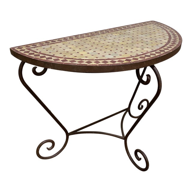 Terra-Cotta Mosaic Tile and Iron Console For Sale