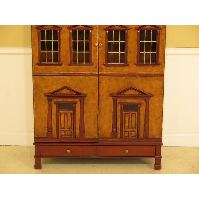 MAITLAND SMITH Leather Wrapped House Form China Cabinet Age: Approx: 20 Years Old Details: High Quality Construction Glass...