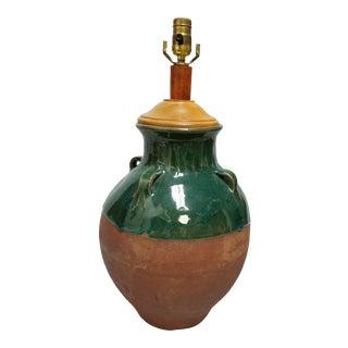 Mediterranean Terracotta & Green Olive Jar Lamp For Sale