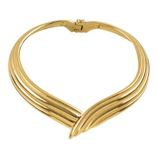Yves Saint Laurent Ysl Paris Gilt Metal Rigid Dog Collar Necklace For Sale