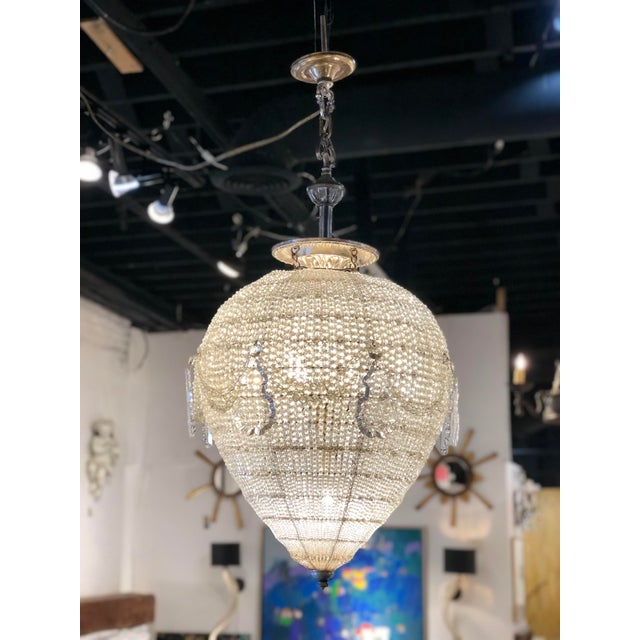 French Inverted Pear Form Beaded Chandelier Circa 1900 For Sale In Atlanta - Image 6 of 6