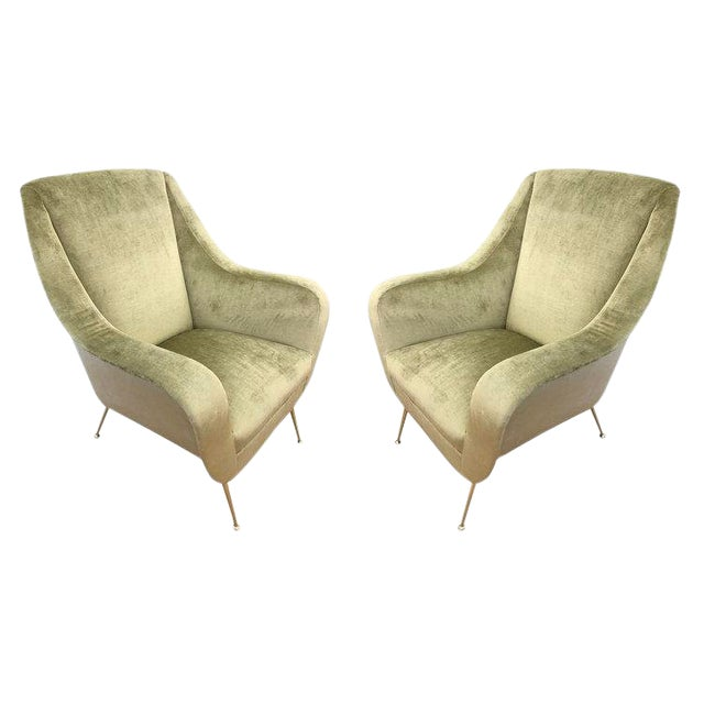 Pair of Light Green Mid-Century Lounge Chairs For Sale