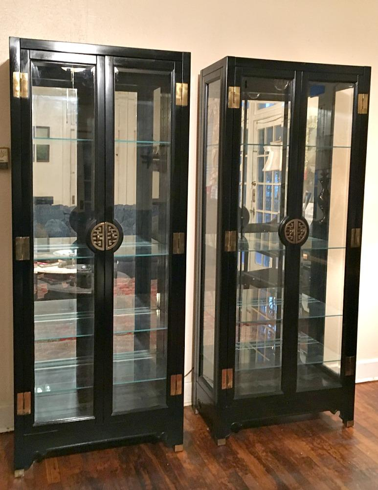 American Of Martinsville Asian Style Black Lacquered China Cabinets   Pair    Image 2 Of 9