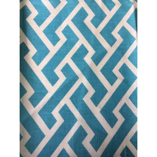 Quadrille Aga Reverse Turquoise Fabric Remnants For Sale