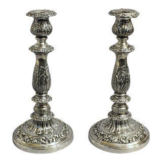 Early 19th Century Antique Sterling Silver Candleholders - A Pair For Sale
