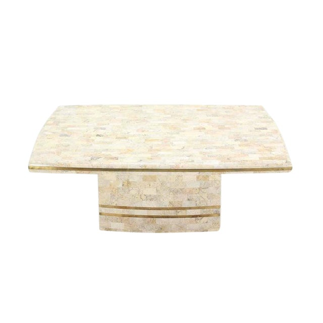 Maitland Smith Brass Inlay Tessellated Coffee Table For Sale