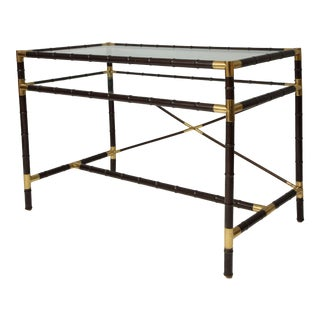 Vintage Faux-Bamboo and Brass Writing Desk/Console For Sale