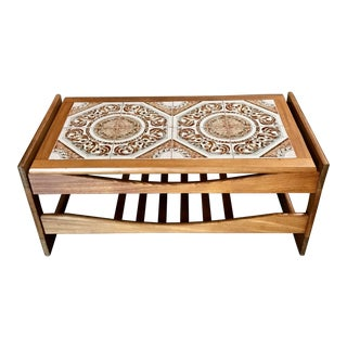 Mid-Century Danish Modern Tile Top Coffee Table For Sale