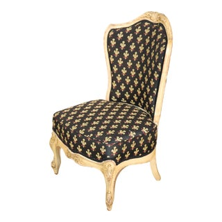 Nice Creme Painted French Louis XV Boudoir Vanity or Side Chair, Circa 1900 For Sale